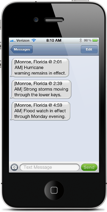 Get weather on your phone by text message