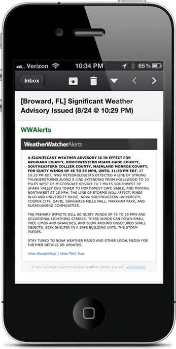 Get weather alerts emailed to your phone